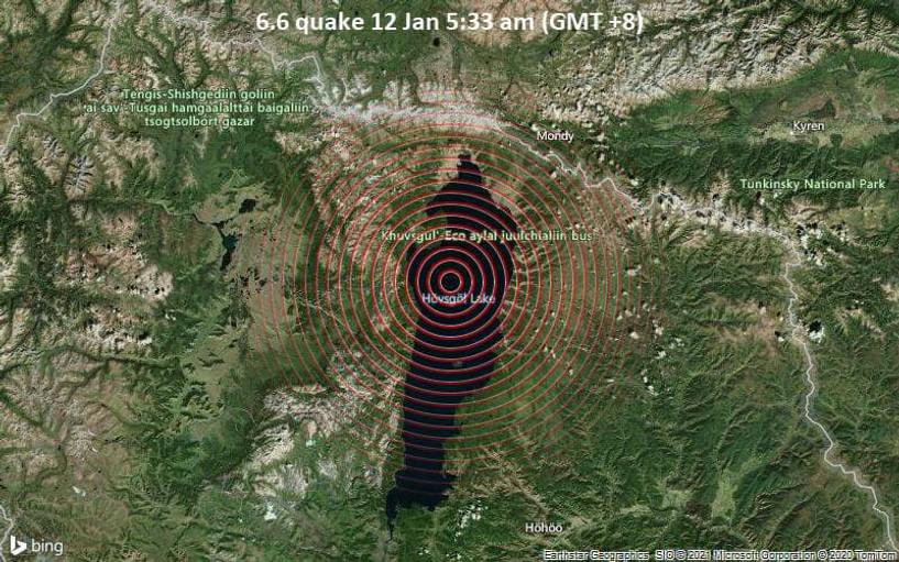 Хөвсгөл аймгийн Ханх суманд өглөөний 04:57 минутад 3.9 магнитудын хүчтэй газар хөдөлжээ